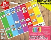 Kids Magnetic Weekly Calendar, Childrens Daily Calendar, Transitions, Visual Activity Planner, PECS, Kids Routines, Dry Erase