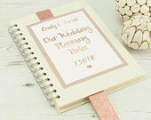 Personalised Rose Gold Glitter Wedding Planner Notebook