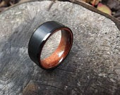 Black wedding Men/women ring with real koa wood inlay and brushed facet 8mm comfort fit, water resistant and extremely durable