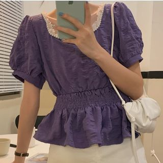 Lace Trim Short Sleeve Blouse / Lace Trim Short Sleeve Dress