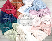 Lilia Robe w/matching LUX lace 18 colors sizes XS thru 3XL, child sizes Monogrammable, Cotton Bridesmaid Robe Bride Wedding Robes Gowns