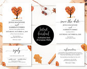 Autumn Fall Love Tree Wedding Invitation Template Set, Save the Date Printable Invite RSVP Reply Card Guest Information, Editable Printables