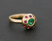 Emerald Cluster Ring with Rubies Emerald and Ruby Engagement Ring in 18K Gold