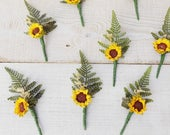 Wedding buttonhole lapel pin Summer Autumn groom groomsman corsage artificial silk flowers rustic boho wedding sunflower boutonniere