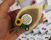 Page Boy / Best Little Man Personalised Wedding Buttonhole Sunflower and Tractor rustic Wedding Boutonniere