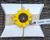 White Pillow Boxes Favours Wedding Baby Shower Party Rustic Shabby Chic Theme Sunflower (Qty 10)