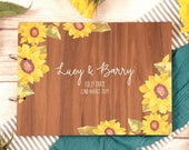 Wedding guest book, guest book, sunflowers, wedding book, wedding guestbook, wooden guest book, guestbook, rustic wedding, pg14