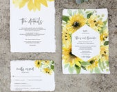 Sunflower Wedding Invitation Suite, Sunflowers Watercolor, Editable Template, Yellow and Greenery 001011