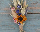 Tuscan Meadow Dried Flower Wedding Buttonhole Sunflowers