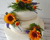 Sunflower. 3 tier wedding cake toppers. cake topper, cake sprays.country styled.wheat grasses .lavender