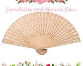 Natural Sandalwood Folding Hand Fan Destination Wedding Summer Wedding Bridal Party Accessory Hen Party Wedding Guest Favor