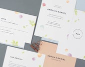 Floral Wedding Invitation with matching RSVP, Watercolour Wedding Invitation, Pastel Wedding Invitation, Summer Wedding Invitation SAMPLE