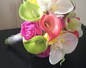 Stunning tropical bridal bouquet pink green yellow lily rose orchid summer bride wedding flowers