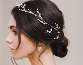 SUMMER // Gold and pearl wedding hair vine, bridal hair vine, wedding hair accessories, hair accessory, hair vine, boho wedding hair vine