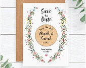 Spring Summer Wedding Save The Date Magnets Personalised Floral Save The Date Rustic Wood Fridge Magnets Unique Wedding Stationary Ideas