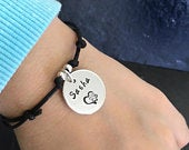 Personalised dog name and paw memorial bracelet, Dog Memorial Gift, Pet Loss Gift, in memory bracelet, Pet Loss Bracelet, paw print bracelet