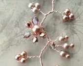Rose gold pearl wedding hair vine, Bridal crystal hair accessory, Swarovski pearls, Bridal wreath headpiece, White wedding