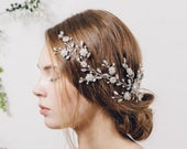 Large statement crystal hair vine, wildflower bridal hair vine, crystal wedding hair vine wreath, Swarovski crystal hair vine Sybil