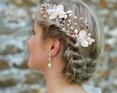 Rose Gold Bridal Hair Pins, Floral Wedding Hairpiece, Wedding Hair Vine, Rustic Champagne Blush Orchid Wedding Hair Accessories CHANTAL