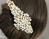 Gold Bridal Headpiece Gold statement bridal hair vine Wedding Headpiece Wedding Hair Vine Headpiece For A Bride