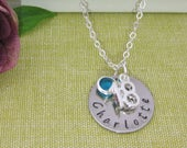 Birthday Gift Personalised 18th 21st Birthday Name Birthstone Necklace Silver Plated Chain UK Seller