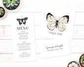 Butterfly Wedding Table Pack Printable Seating Plan, Rustic Wedding, Place Cards, Menu, Table Numbers, Wedding Breakfast, Classic
