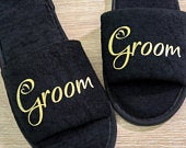 Groom Slippers Personalised Wedding Slippers, Bridesmaid Gift, Bridal Party , Bride Slippers Hen Weekend Open Toes Black Spa Slippers