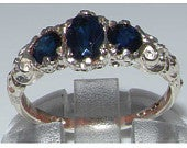 925 Sterling Silver Dark Blue Sapphire Promise Ring, English Antique Style Carved Ring, 3 Stone Trilogy Romantic Ring Customizable