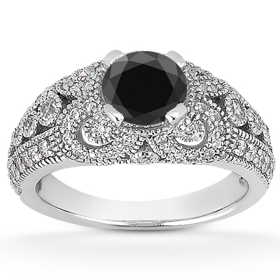0.89 Carat Black and White Diamond Vintage Style Engagement Ring