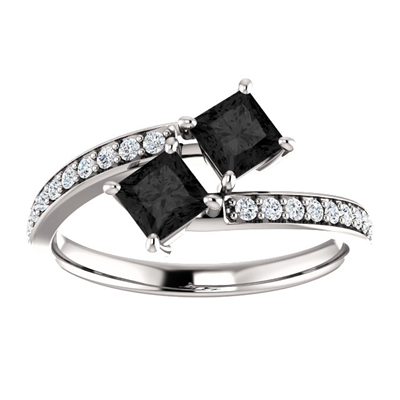 Princess Cut Black Diamond Two Stone Engagement Ring in 14K White Gold