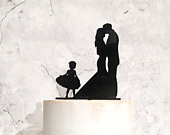 Bride Groom and Flower Girl Family Silhouette Wedding Cake Topper