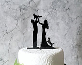 Bride Groom Baby and Dog Family Silhouette Wedding Cake Topper