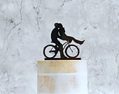 Cycling Couple Cake Topper, Bride and Groom on Bike Silhouette, Wedding Decoration, Cake Decor, Cycling Wedding Cake Topper