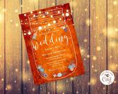 Mason Jar, String Lights, Wedding Invitation Template, Instant Download, Editable Printable, Rustic Country Barn Boho Invite Photo, Corjl