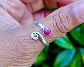 Ruby Ring, Sterling Silver Ring, Adjustable Ring, Snake Ring, Wrap Ring, Thumb Ring, 40th Anniversary, July Birthstone, Mistry Gems, R61R
