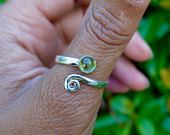 Peridot Ring, Sterling Silver Ring, Adjustable Ring, Snake Ring, Wrap Ring, Thumb Ring, Spiral Ring, August Birthstone, Mistry Gems, R61P