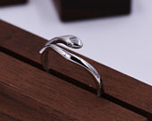 Sterling Silver Snake Wrap Ring, Serpent Snake Ring, Adjustable Size, Simple and Minimalist Animal Jewellery M5