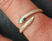Solid 9ct gold Serpent ring / Snake Crossover Ring with red Ruby or green Emerald eyes / hand engraved snake ring