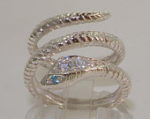 Solid 925 Sterling Silver Blue Topaz Diamond Snake Coil Band Wrap Ring Customizable