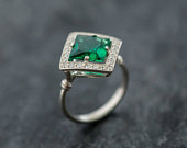 Emerald Ring, Emerald Engagement Ring, Created Emerald, Vintage Emerald Ring, Vintage Ring, Antique Emerald Ring, Antique Rings, Silver Ring