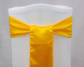 ENF YELLOW GOLD Satin chair bow sash knot band ribbon sashes for wedding event marriage reception birthday Christmas party dinner decoration