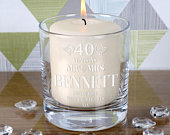 Engraved 40th Wedding Anniversary Candle Holder Personalised Gift Idea Personalized for Him Her with English 35hr Pillar Candle included