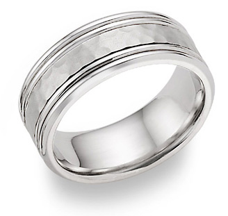 Hammered Double Edged Wedding Band in 18K White Gold
