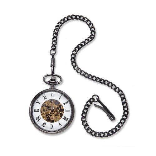 Personalized Gunmetal Exposed Gears Pocket Watch