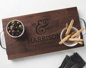 Large Wedding gift for the couple Personalised Oak or Walnut Serving / Cutting / Cheese Board