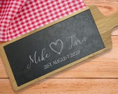 Personalised Cutting Board, Custom Cheese Board, Wedding Gift, Engraved Bamboo and Natural Slate, Gift for Couple, Mr Mrs Anniversary