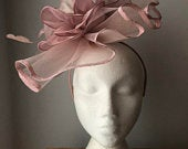 Dusky Pink Crin folded wave of crin Fascinator with a centre fabric flower on a headband or crocodile clip Weddings, Prom, Cruise
