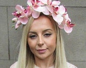 Blush Pink Light Peach Pink Orchid Flower Fascinator Headpiece Races Headband Hair Crown Wedding Guest Floral Hairband Hair Band 5283
