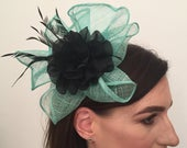 Adelaide Black and Green Silk Flower Coq Plume Fascinator Corsage Bridal Prom Races Race Day Wedding Hair Piece Mother of the Bride Hair
