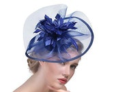 Navy Blue Crin Ruffle Disc Fascinator With Feather Flower Occasion Wedding Races
